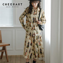 CHEERART poist – chemise Vintage à manches longues pour femme, haut et chemisier à col boutonné imprimé, jaune, à la mode, automne 2021