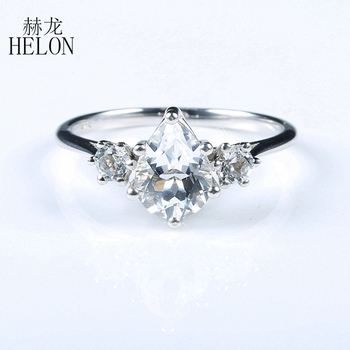 HELON Sterling Silver 925 Certified Pear 6x8mm 100% Genuine Natural White topaz Engagement Wedding Ring Setting Women Jewelry
