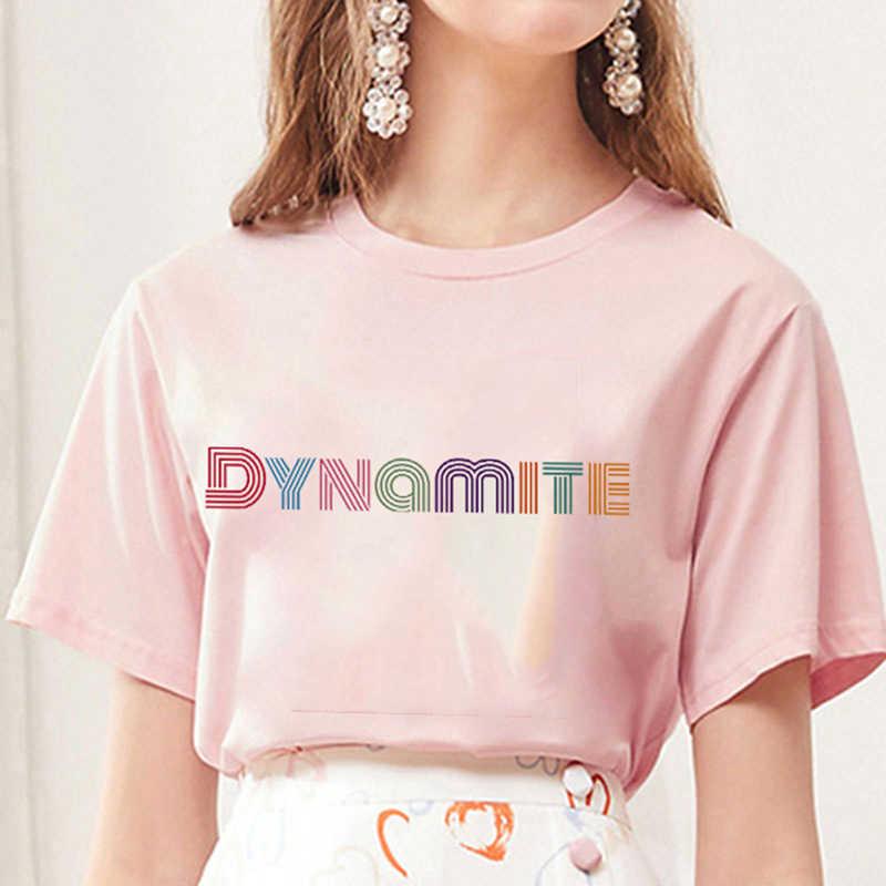 2020新アルバムダイナマイトプリントtシャツkpop韓国スタイル半袖かわいい韓国カジュアルヒップホップ半袖トップ