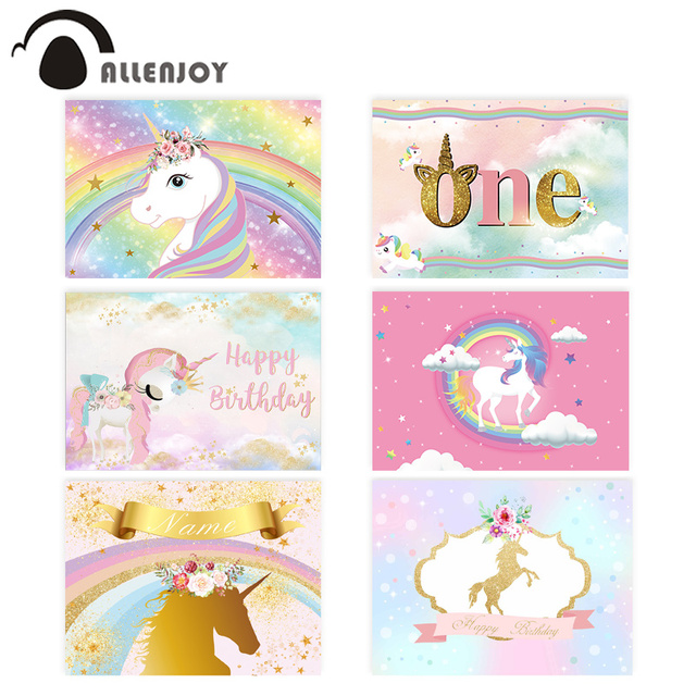 Allenjoy Baby Shower photophone backdrop rainbow unicorn sky children 1st birthday party photo background photocall photo studio