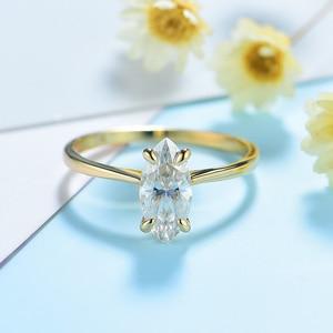 Image 4 - Kuololit 100% טבעי המרקיזה Moissanite 10K צהוב זהב טבעות לנשים סוליטייר טבעת עבור מבטיחים יום נישואים מתנה בשבילה