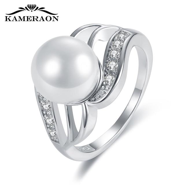 KAMERAON Dainty Cubic Zirconiaแหวนมุกเงินแท้925เครื่องประดับHollowออกแบบแกะสลักหญิงสำหรับงานแต่งงานแหวนกว้างR0917