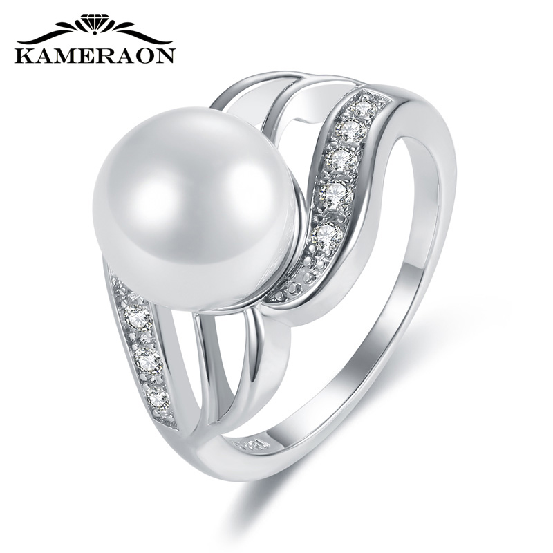 KAMERAON Dainty Cubic Zirconia Pearl Ring Sterling Silver 925 Jewelry Hollow-carved Design Female For Wedding Wide Rings R0917
