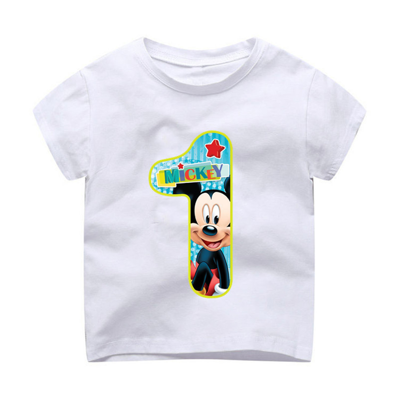 Children's Birthday Number 1~9 Mickey Cartoon Shirt Cotton T-shirt Boy And Girl Birthday Gift Baby Clothes 3-9 Years Old