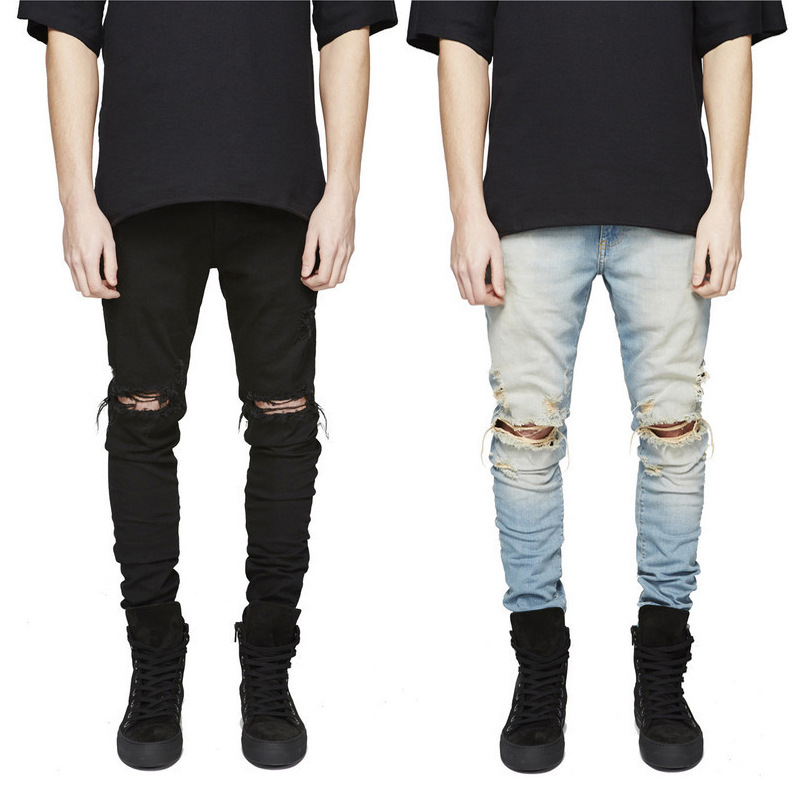 Europe And America Kanye West Knee Large With Holes Jeans High Street Men Elasticity Slim Fit Skinny Pants Fashion JEANS