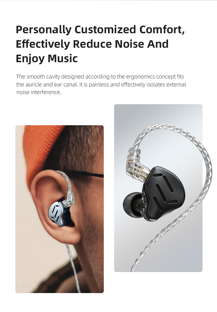 Kz zax 7ba+1dd in ear earphone 16 units hybrid headset hifi bass noise cancelling earphones