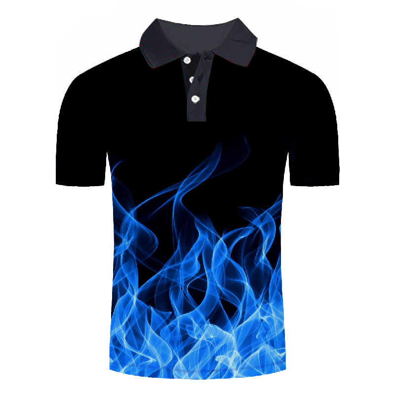 Casual Men's Flame Printed 3D   Polo   Shirt Mens Flame Design   Polo   Shirt Male Short Sleeve Summer Tops Homme Streetwear