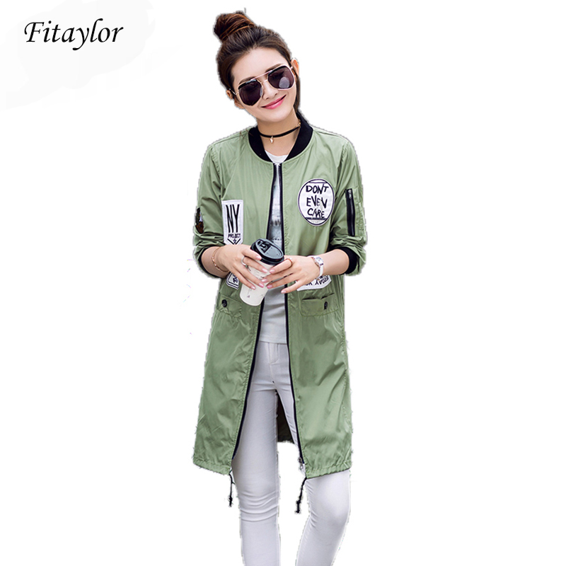 Fitaylor New Autumn Women Long   Trench   Coats Plus Size Print Letter Emboridery Windbreaker Street Fashion Baseball Casual Outwear