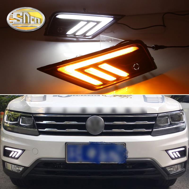 2PCS For Volkswagen Tiguan 2017 2018 2019 Turn Yellow Signal Relay Waterproof 12V Car DRL Lamp LED Daytime Running Light SNCN image