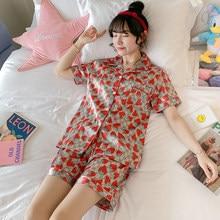 2020 Summer Short Sleeve Silk Satin Shorts Pajama Sets for Women Print Sleepwear Suit Pyjamas Homewear Pijama Mujer Home Clothes