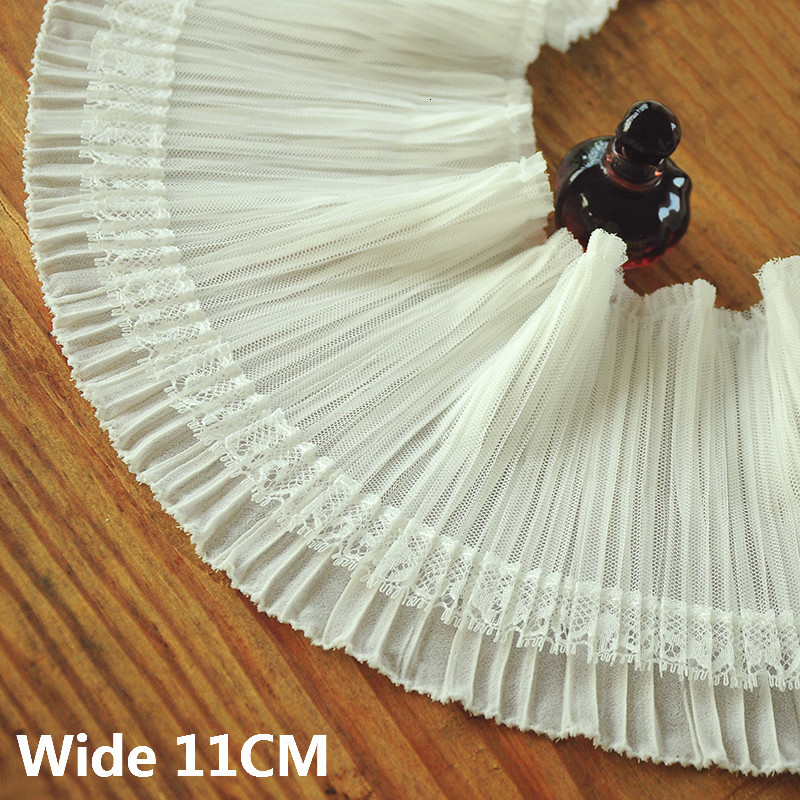 11CM Wide Luxury White 3D Pleated Chiffon Guipure Fabirc Embroidered Ruffle Lace Collar Cuffs Trim Ribbon Dress Sewing Supplies(China)