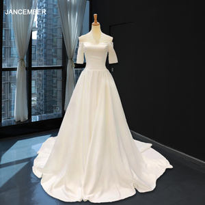 Image 1 - J66836 jancember cheap wedding dress boho chic strapless off shoulder half sleeve satin dress train свадебное платье с рукавами