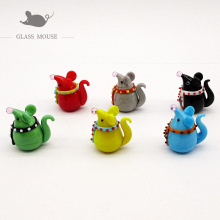 6pcs lovely Handmade murano glass rat statue charms Home desktop decoration miniature glass mouse Figurine ornaments accessories