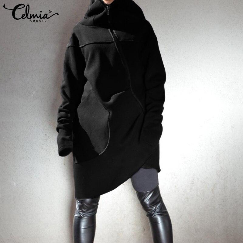 Winter Hoodies Sweatshirts 2019 Celmia Women Asymmetrical Pullovers Casual Loose Zipper Tracksuits Long Hooded Coats Plus Size