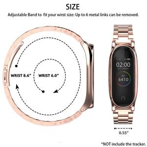 Image 5 - ミバンド5ストラップ金属リストバンドブレスレットmi曲げ4ベルトxiaomi correas miband 3 pulseira腕時計スマートアクセサリー