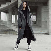 Уличная зимняя толстовка с капюшоном, пальто для женщин, с капюшоном, с длинным рукавом, флисовая верхняя одежда, асимметричный бойфренд, дл...