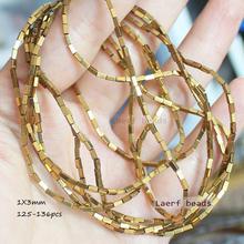 Perline rettangolari in ematite naturale 1X3mm 125 pezzi per filo, per la creazione di gioielli fai-da-te! Commercio all'ingrosso misto per tutti gli articoli!