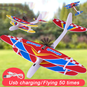 Hot New Electric Hand Throwing Glider Plane Outdoor Park Foam Inertial Electric Gliding Aircraft Flying Toys For Children Plane