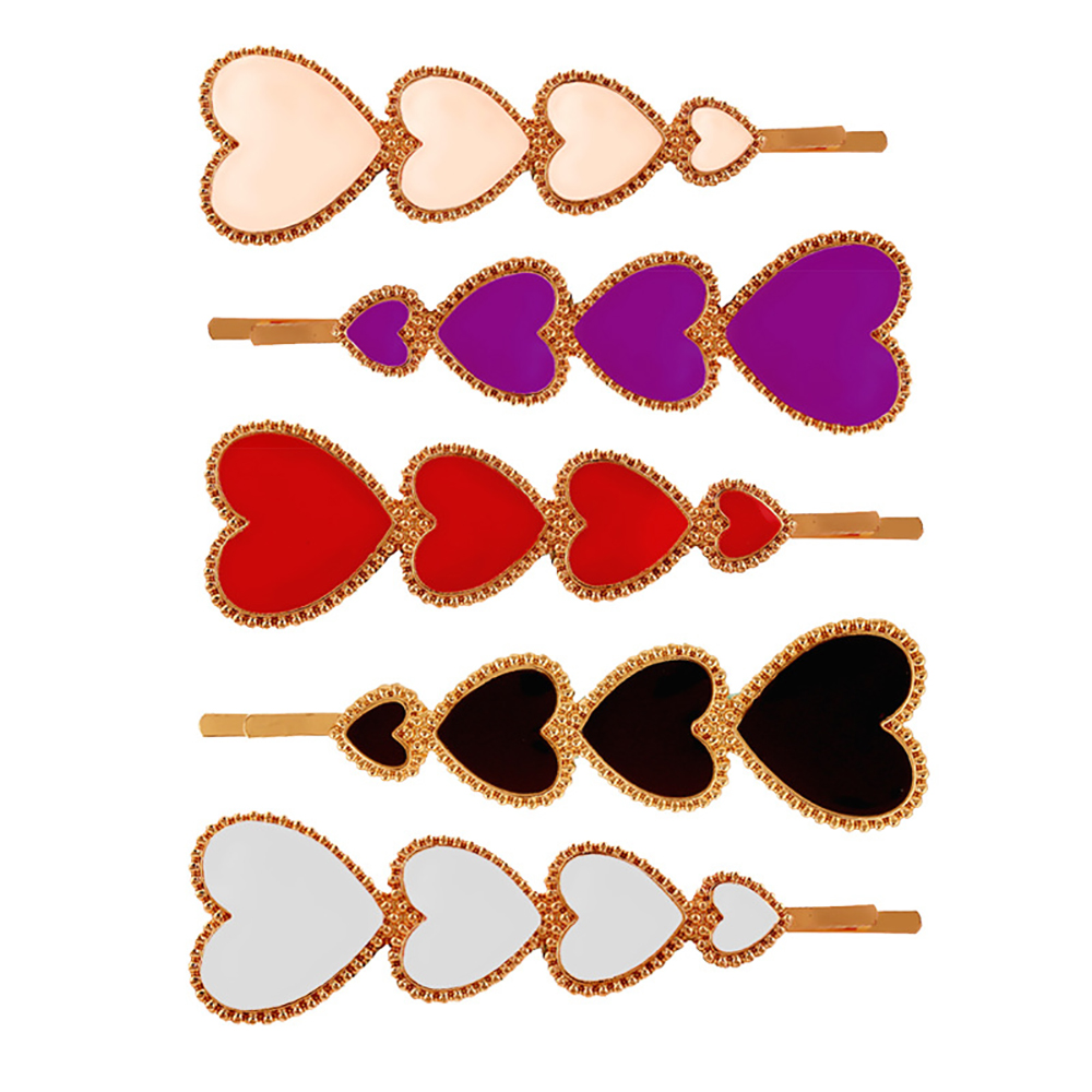 Gorgeous  Pretty Heart Embellished Hair Clips Girls Women Fashion Hair Barrettes Hair Styling Decorative Pins Accessories