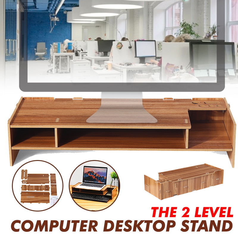 Wood Shelf Plinth Multi-function Desktop Monitor Stand Computer Screen Riser Laptop Strong Laptop Stand Holder For Notebook TV