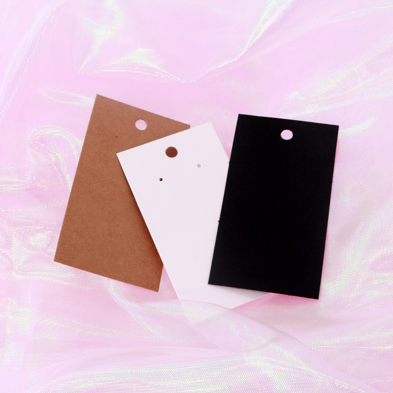 5x9cm Rectangle Shape Earring Display Cards 100pcs/lot Fashion Jewelry Tassel Earrings Packing Paper Hang Tags White Black Brown