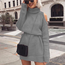 PUIMENTIUA Women Sweaters Dress 2019 Knitting Autumn Winter Long Sleeve Cold Shoulder Turtleneck Warm Bodycon Knitted New