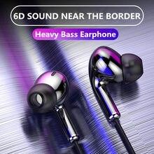 Auriculares deportivos de sonidos graves, auriculares internos estéreo de doble unidad con cable y micrófono, para ordenador y teléfono móvil