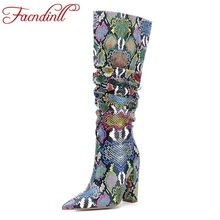 FACNDINLL big size 34-43 new fashion high quality knee high boots for women shoes sexy high heels pointed toe shoes woman dress цена 2017