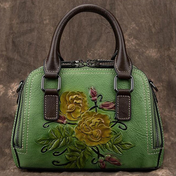 Women Bag  High Quality Messenger Bags Retro Chinese Style Female Floral Genuine Embossed Leather Shoulder Crossbody Women Bag