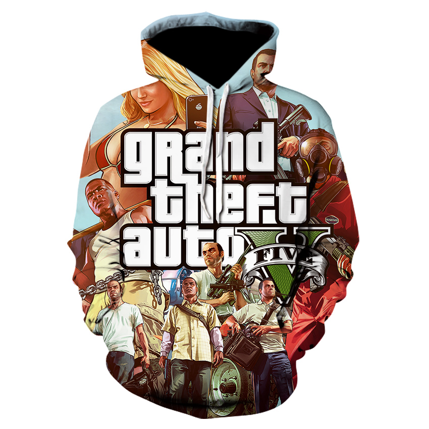 Fashion Mens Hoodies  Anime Jacket Grand Theft Auto Game GTA 5 Spring  Autumn  Designer Famous Brand Male Fashion Coat