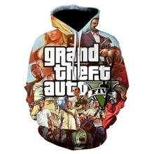 Fashion Mens hoodies  Anime Jacket Grand Theft Auto Game GTA 5 spring Autumn Designer Famous Brand Male fashion Coat