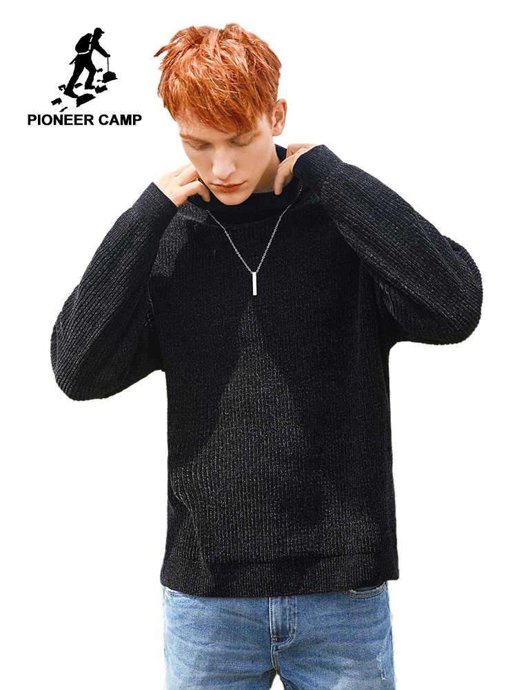 Pioneer Camp Turtleneck Sweater Pria Musim Dingin Yang Hangat Tebal Hitam Navy Warna Solid Pullover Sweater Pria 2019 AMS903518