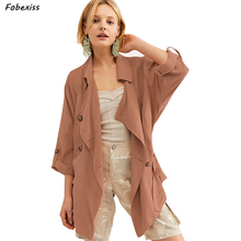 Women Trench Coat Fall 2019 Long Sleeve Single Breasted Windbreak Plus Size Casual Elegant Vintage Trench Coat Streetwear Women