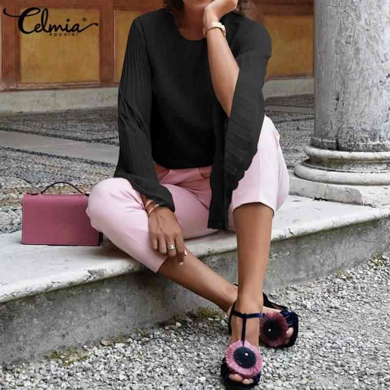 2020 Celmia moda kadınlar şifon bluzlar uzun parlama kollu dantel üstler Casual gevşek gömlek bayanlar zarif OL çalışma Blusas Femininas