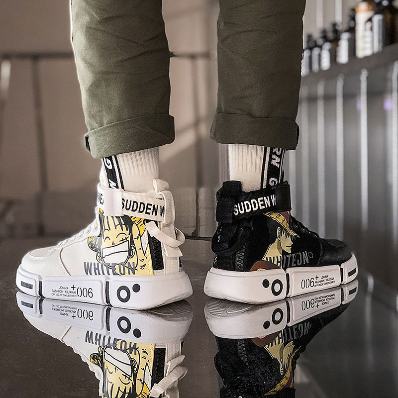 Japan Cartoon Men's Fashion Casual Shoes One Piece Sneaker Spring New Men Shoes High Quality Non-slip Walking Shoe Zapatillas