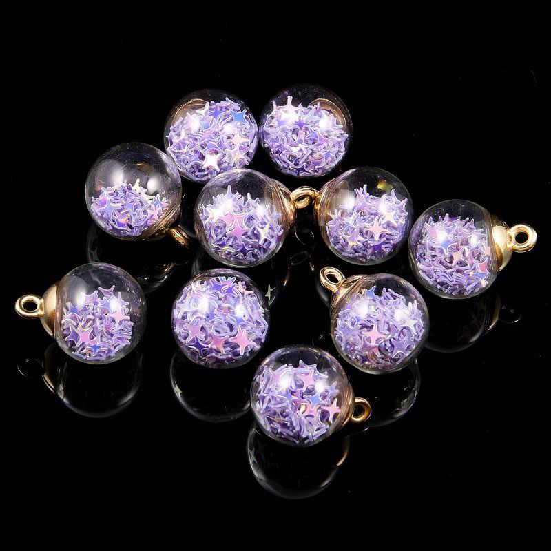 Variopinta libera Trasparente di cristallo della fiala palla di vetro Pendenti e Ciondoli stella Orecchino di pendente Per La Produzione di Gioielli FAI DA TE Collana Accessori