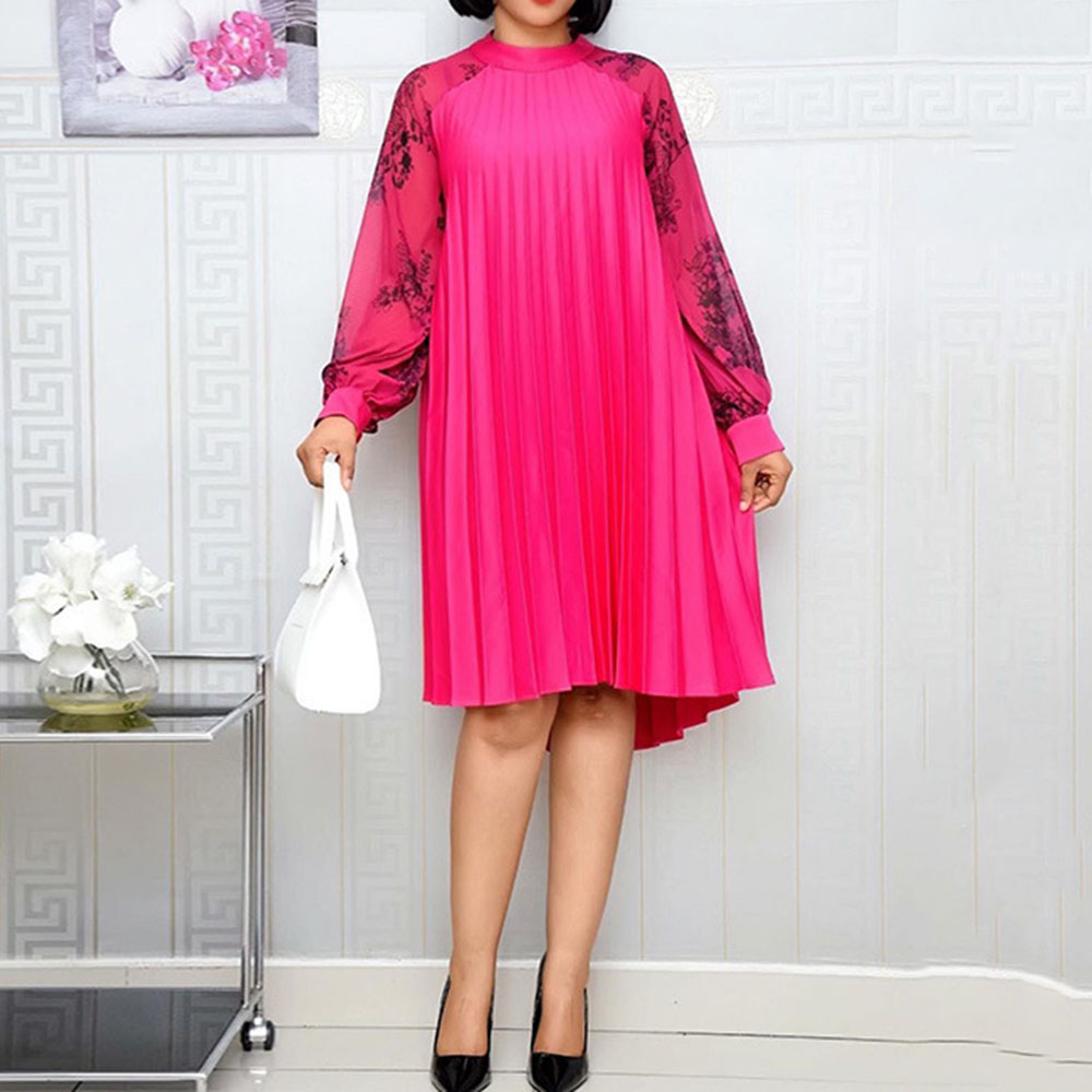 African Style Autumn Winter Long Sleeve Oversize Loose Chiffon Ladies Rose Red Office Work Wear Party Female Pleated Dress 2019