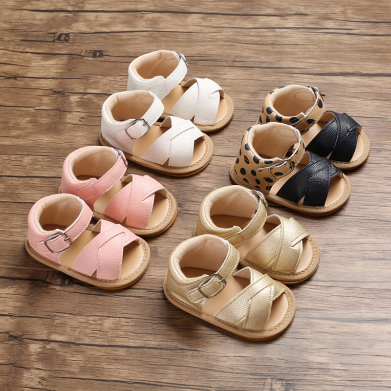 Girls Sandals Summer Hollow Breathable Anti-Slip PU Baby Shoes Sandals Toddler Soft Soled Shoes