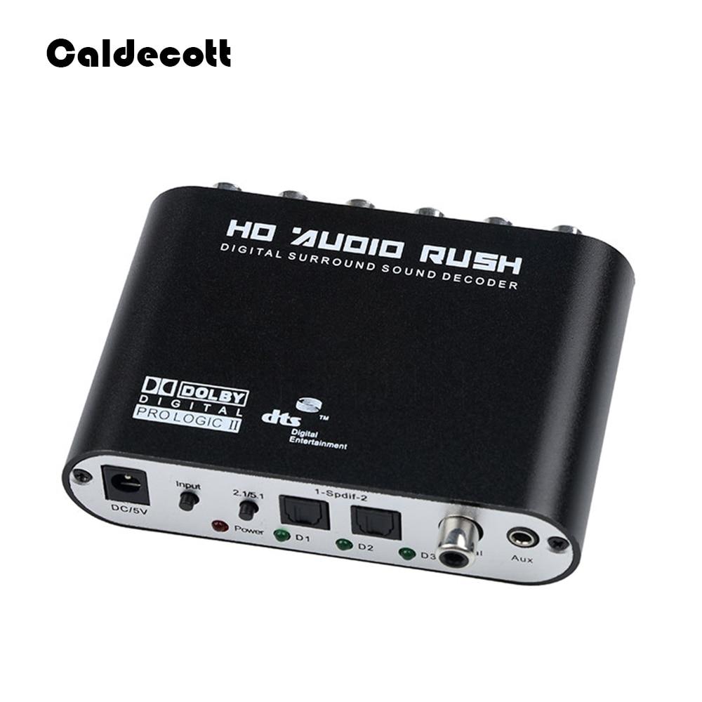 Caldecott 5,1 CH аудио декодер SPDIF коаксиальный к RCA DTS AC3 оптический цифровой усилитель аналоговый преобразователь усилитель HD аудио Rush