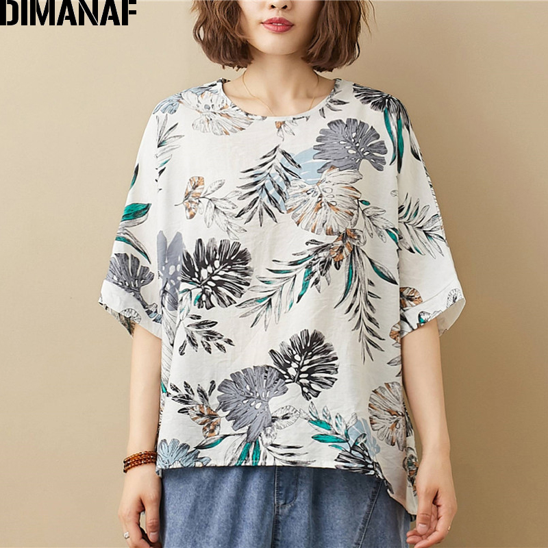 DIMANAF Summer Plus Size T-Shirts Women Clothing Casual Lady Tops Tees Tunic Shirts Cotton Linen Print Floral Loose Tshirt 2020