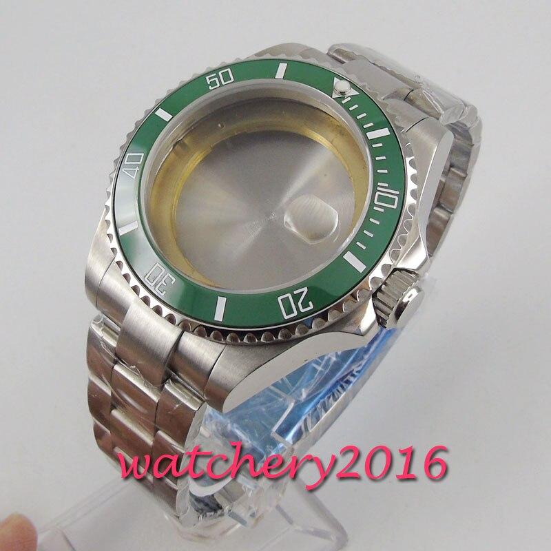 43mm Sapphire Glass Green Ceramic Bezel Watch Case Set Fit 2824 2836 MOVEMENT