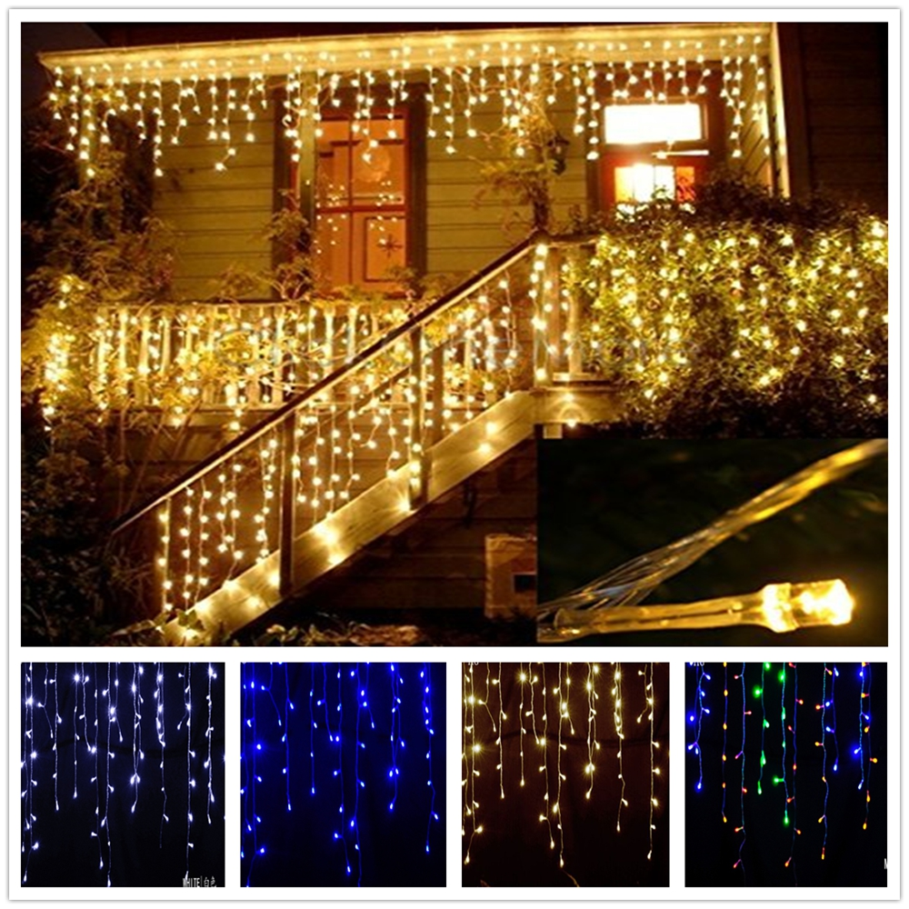 8m 48m Christmas Garland LED Curtain Icicle String Light 220V Droop 0.4 0.6m Mall Eaves Garden Stage Outdoor Decorative LightsLED String   -