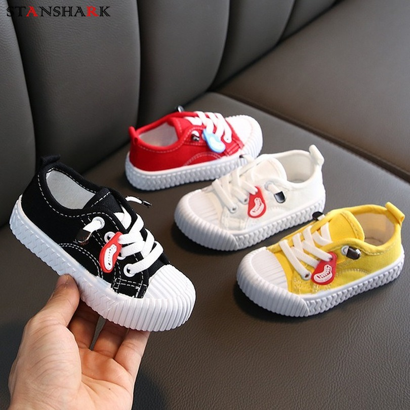 New Children's Boys Girls Canvas Shoes Breathable Slip Shoes Sport Running Sneakers Baby Soft Kids Lace Up Casual Shoes