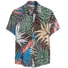 Новые летние мужские пляжные Гавайские рубашки с коротким рукавом, хлопковые повседневные рубашки с цветочным принтом обычного размера плюс мужская одежда#4