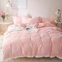 Denisroom  juego de cama rosa  funda nórdica de margaritas  tamaño King  tamaño Queen  juegos de edredón  sábanas y fundas de almohada  conjuntos YT65 #