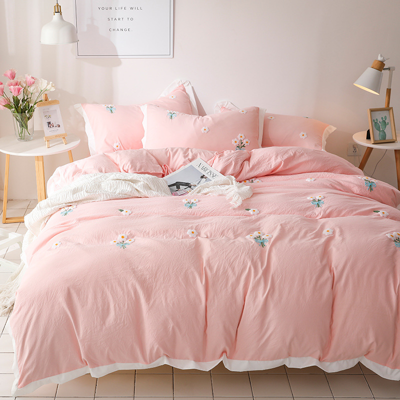 Denisroom Pink Bedding Set Daisies Duvet Cover King Size Queen Size Comforter Sets Bed Sheet And Pillowcase Sets YT65#