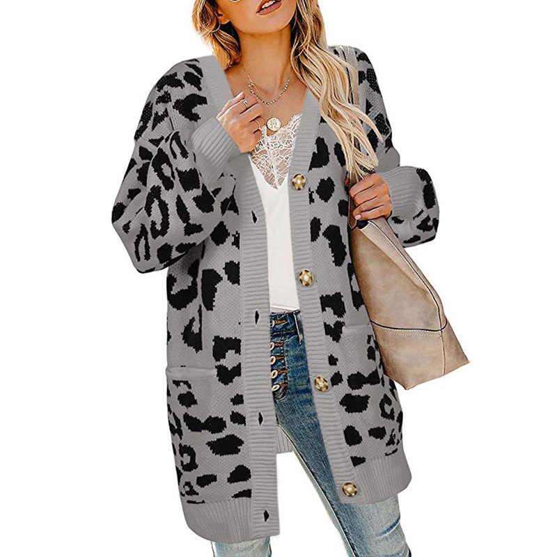 סוודר נשים קרדיגן 2019 סתיו והחורף ארוך פנסי שרוול כפתור נמר חורף בגדי נשים Vestidos MMY77073