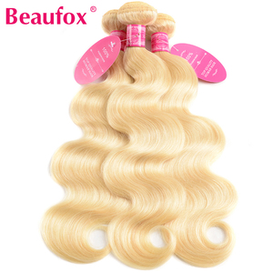 Image 3 - Beaufox 613 Blonde Bundles With Closure 브라질 바디 웨이브 3 번들, Closure Remy