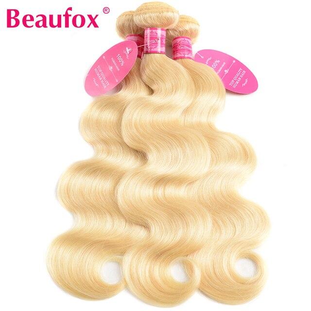 Beaufox 613 mechones rubios con cierre cuerpo brasileño ondulado 3 mechones con cierre extensiones de cabello humano mechones rubios con cierre Remy