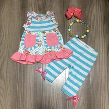 新しい春/夏ブルーコーラルフロー花ポケットストライプカプリパンツベビー服の綿フリルブティックセットマッチアクセサリー